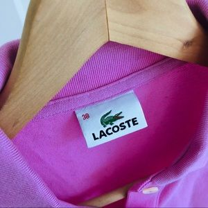 Lacoste Tops - Lacoste Basic Pink Polo Longsleeve w/ Collar